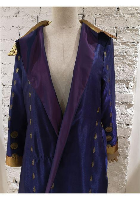 Ermetique blue gold kimono trench Ermetique | Trenchs | ETNOBLUE INDIA