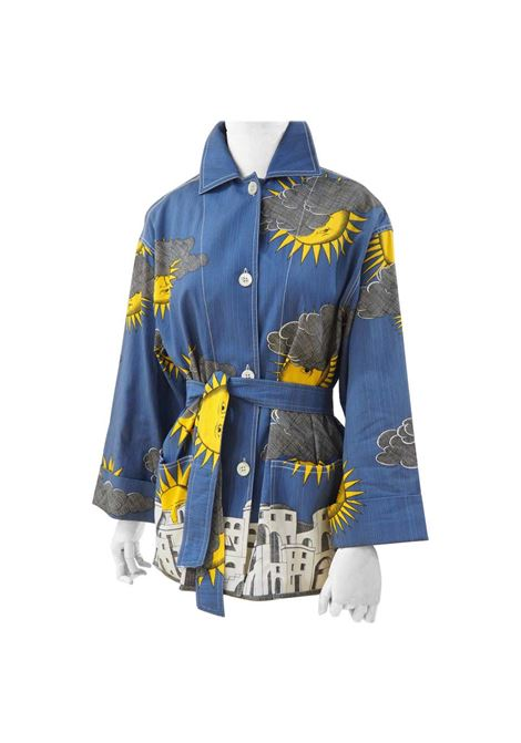 Fornasetti sun and cloud linen jacket with belt NWOT Fornasetti | Giacca | AT02025SDF0BLU
