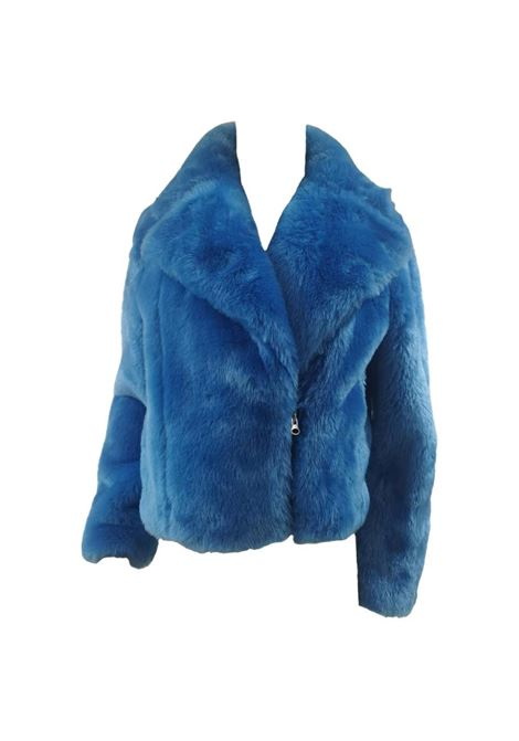 House of Muamua blue faux fur jacket House of Muamua | Bomber | BIKER JACKETBLU