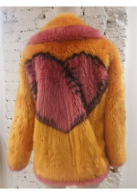 House of Muamua orange pink faux fur jacket House of Muamua | Bomber | BIKER JACKETROSA ARANCIO