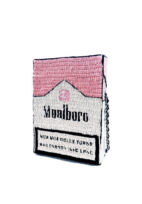 Hand-beaded Mualboro Pink Fashion Kills cross body bag House of Muamua | Borsa | CIGARETTE BAGMARLBORO PINK