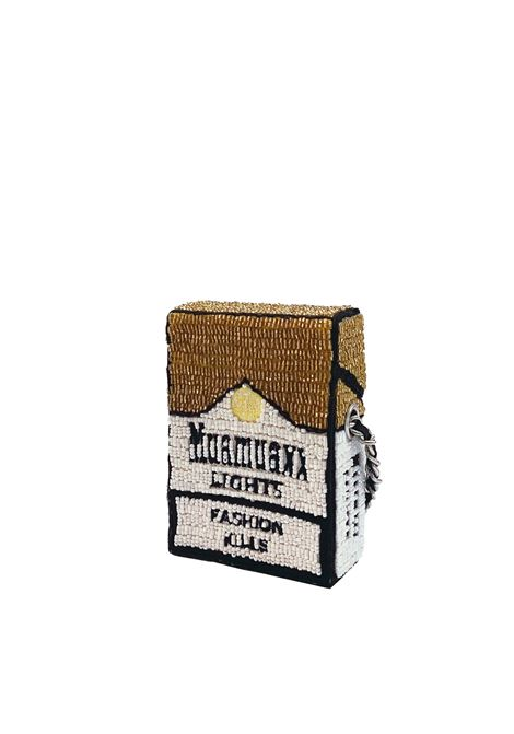 Mini hand-beaded Muamuaxxx lights Fashion Kill cross body bag House of Muamua | Borsa | CIGARETTE MINIMARLBORO GOLD