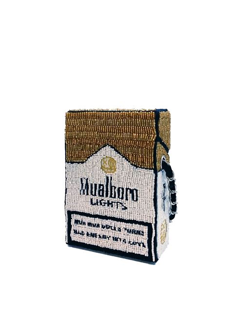 Med size hand-beaded Mualboro Lights Fashion Kills cross body bag House of Muamua | Borsa | CIGARETTEMEDIUMMARLBORO GOLD