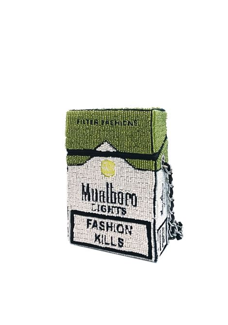 Med size hand-beaded Mualboro Mint Fashion Kills cross body bag House of Muamua | Borsa | CIGARETTEMEDIUMMARLBORO LIME