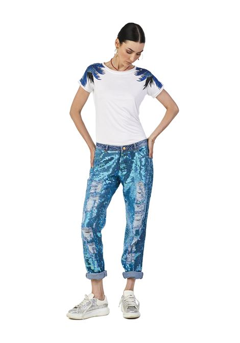 Hand-beaded denim pants House of Muamua | Trousers | JEANS FULL PAIETTESBLUE