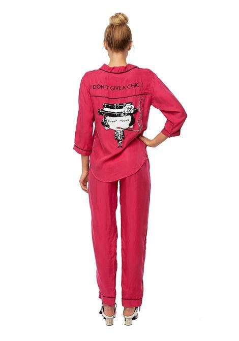 Hand-beaded cupro pajama shirt Fuchsia House of Muamua | Shirts | PIJAMAI DONT GIVE