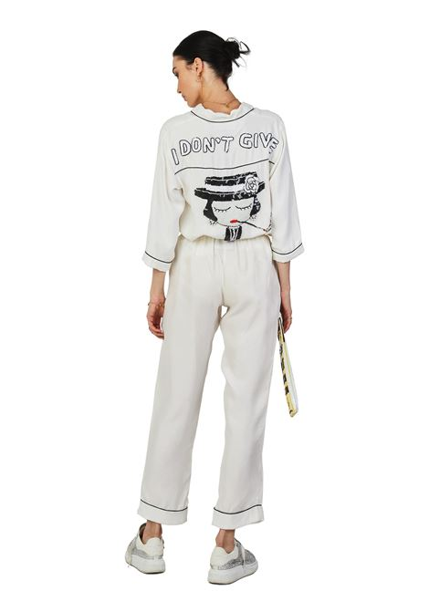 Hand-beaded cupro pajama shirt White I Don't Give A Chic House of Muamua | Camicia | PIJAMAIDONT GIVE WHITE