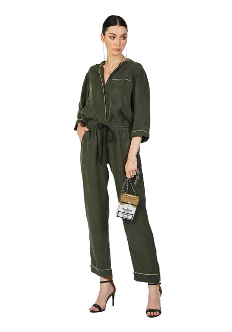Hand-beaded cupro pajama shirt Olive Karletto Forever House of Muamua | Camicia | PIJAMAKARLETTO