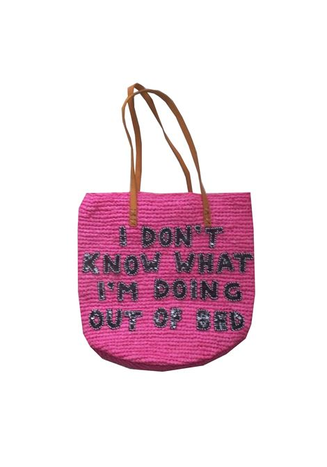 Raffia fucsia I don't know what i'm doing out of bed House of Muamua | Borsa | RAFFIA MARKET BAGSOMETIMES