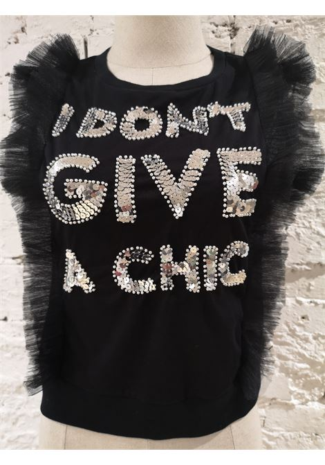 Hand-beaded I don't give a chic tulle t-shirt House of Muamua | Maglia | TULLE TEEI DONT GIVE