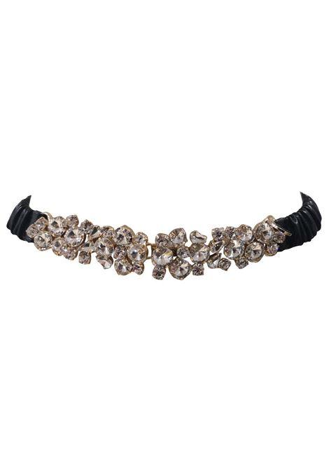 Black leather swarovski buckle belt Laino | Belts | AA087GIOIELLO