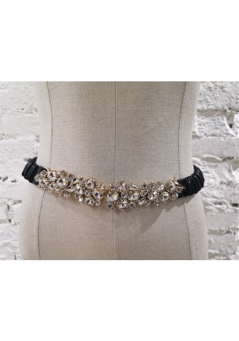 Black leather swarovski buckle belt Laino | Cintura | AA087GIOIELLO