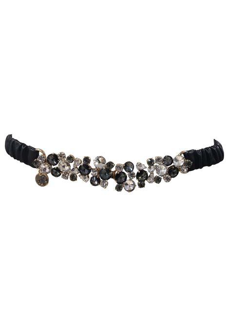 Black leather swarovski buckle belt Laino | Cintura | AA087MULTI