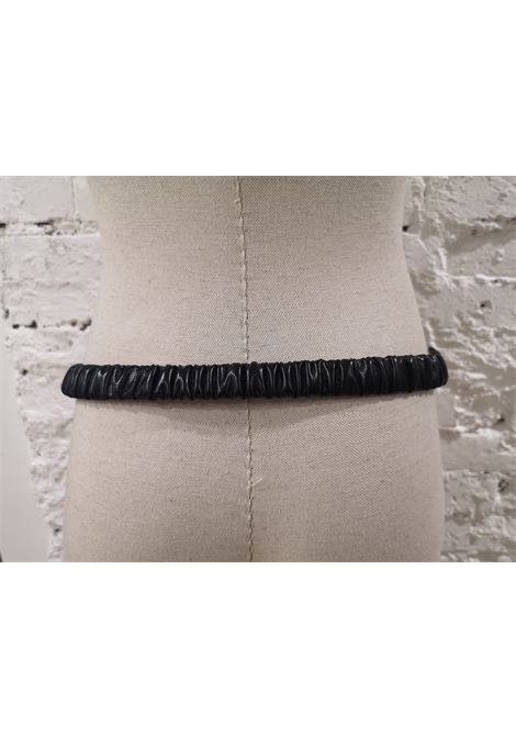Black leather swarovski buckle belt Laino | Belts | AA087MULTI