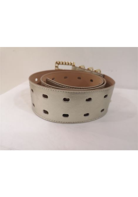 Gold leather and gold hardware belt Laino | Cintura | AA1253BIANC