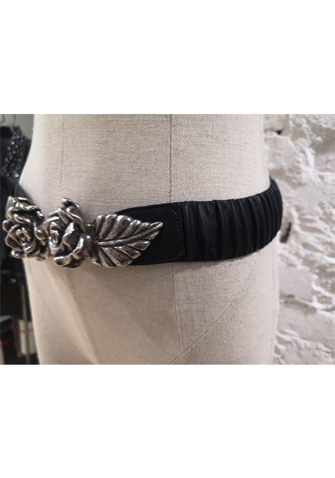Black leather silver roses elastic belt Laino | Cintura | AA1341ECOPELLE FIORI NERO