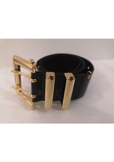 Black leather and gold hardware belt Laino | Cintura | AA1377NERO