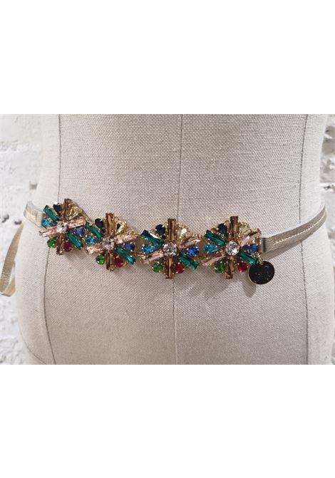 Swarovski flowers gold leather belt Laino | Cintura | AA1418PELLE
