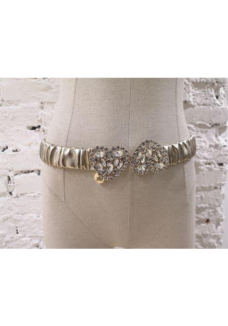 Gold leather Swarovski stones hearts elastic belt Laino | Cintura | AA1454GANCIO
