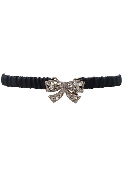 Black leather swarovski bow belt Laino | Cintura | AA1492NERO