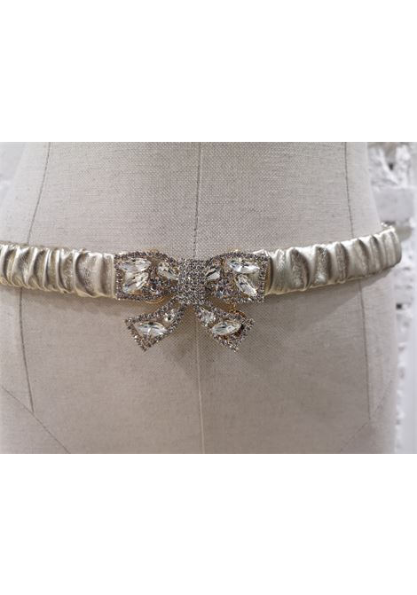 Gold leather swarovski bow belt Laino | Cintura | AA1492ORO