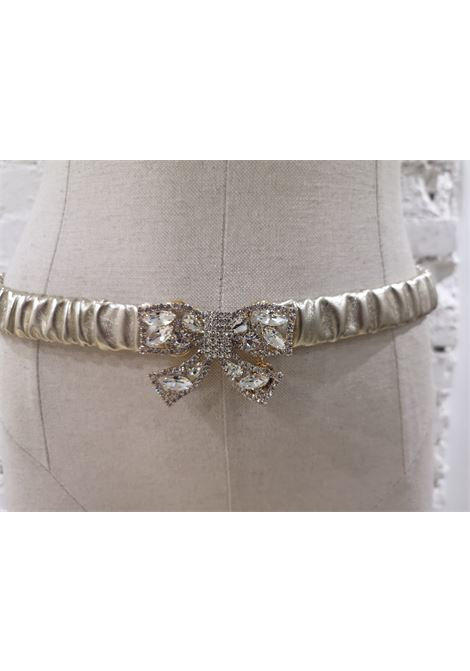 Gold leather swarovski bow belt Laino | Belts | AA1492ORO