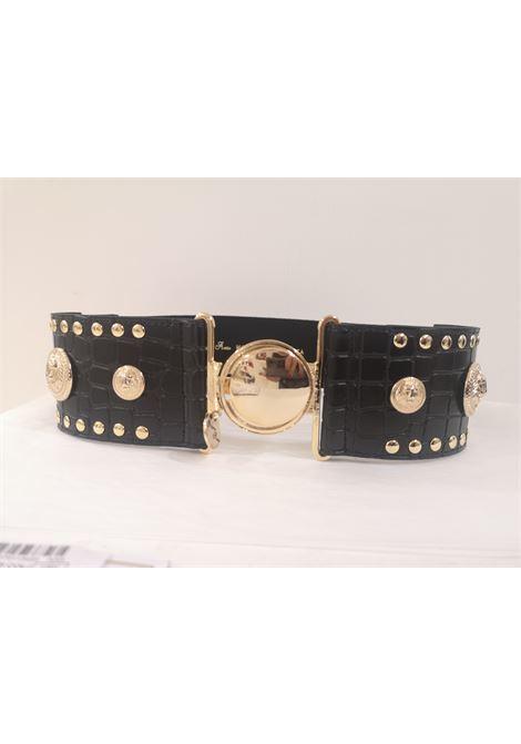 Black leather gold hardware elastic belt NWOT Laino | Cintura | AA1505ORO VARI COLORI