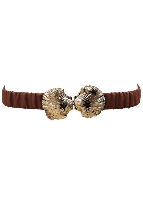 Brown leather gold buckle shell belt Laino | Cintura | AA1506MARRONE