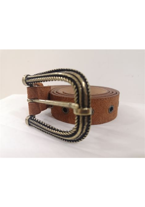 Brown leather suede belt Laino | Cintura | AA1522CUOIO