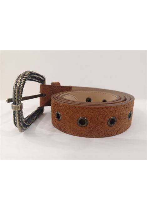 Brown leather suede belt Laino | Belts | AA1522CUOIO
