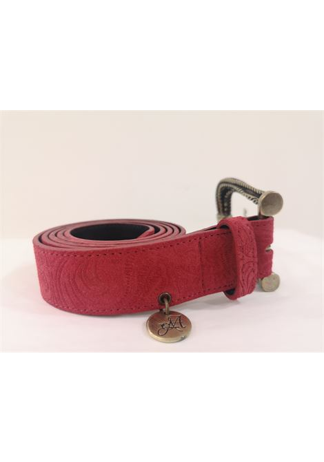 Red leather suede belt Laino | Cintura | AA1522ROSSO