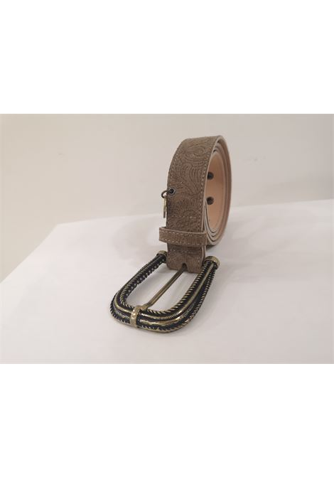 Grey leather suede belt Laino | Cintura | AA1522TORTORA