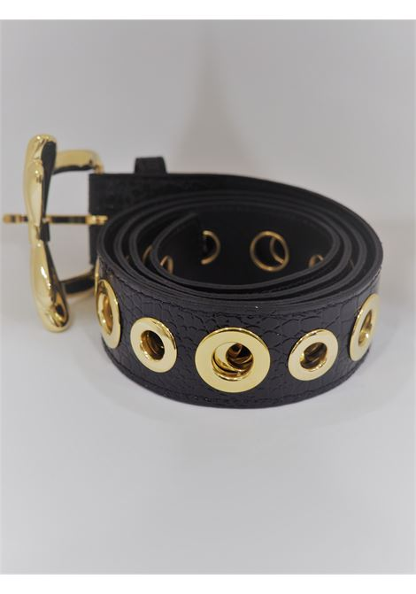 Black leather gold hardware belt 