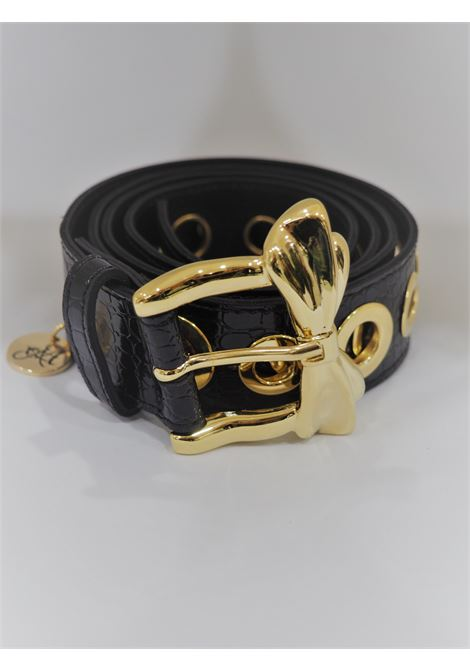 Black leather gold hardware belt  Laino | Cintura | AA1525NERO