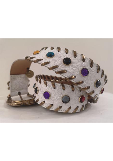 White leather swarovski handmade belt Laino | Cintura | AA1528BIANCO