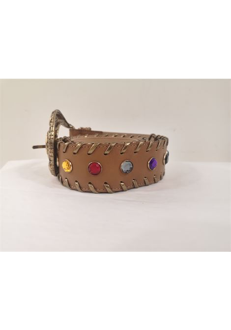 Brown leather swarovski handmade belt Laino | Cintura | AA1528MARRONE