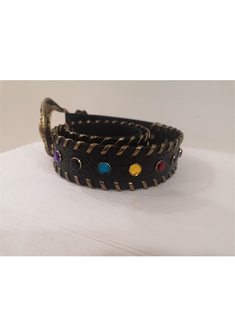 Black leather swarovski handmade belt Laino | Cintura | AA1528NERO