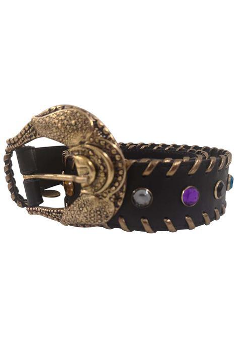 Black leather swarovski handmade belt Laino | Cintura | AA1528NERP