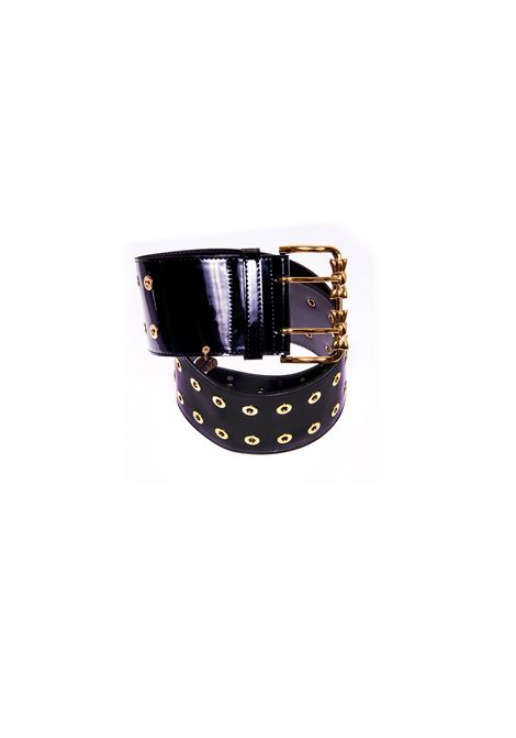 Black patent leather gold hardware handmade belt Laino | Cintura | AA1529NERO