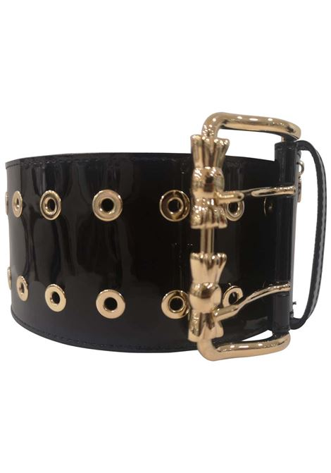 Black patent leather gold hardware handmade belt  Laino | Belts | AA1529NERO
