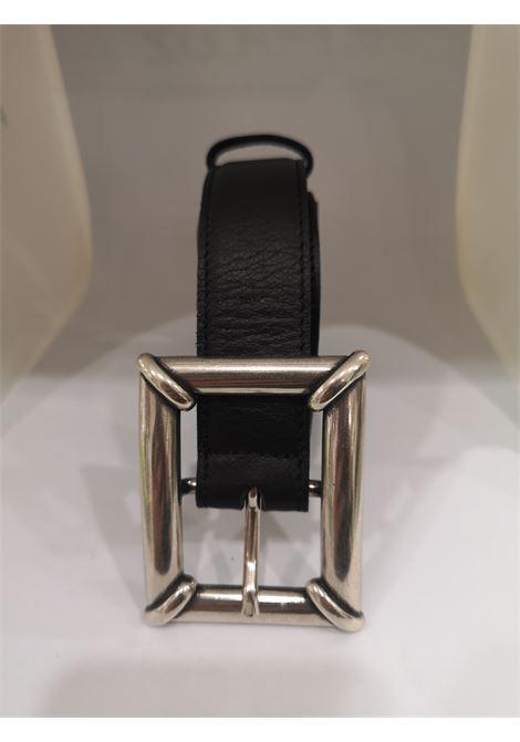 Black leather silver hardware belt Laino | Cintura | AA1558PELLE