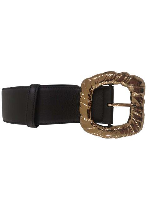 Black Leather bronze gold hardware belt Laino | Cintura | AA1559PELLE