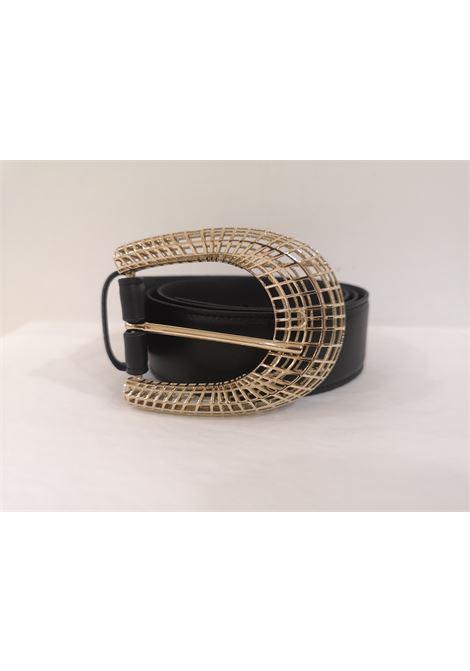 Black leather gold hardware belt Laino | Cintura | AA1561NP