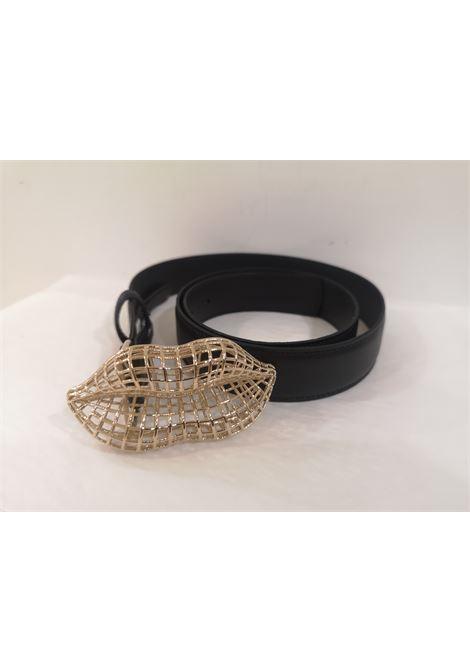 Black leather gold mouth hardware handmade belt Laino | Cintura | AA1562PELLE