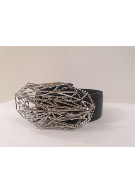 Black leather silver hardware belt Laino | Cintura | AA1564NERO