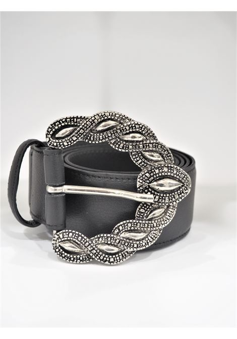 Black leather silver hardware belt Laino | Cintura | AA1566PELLE