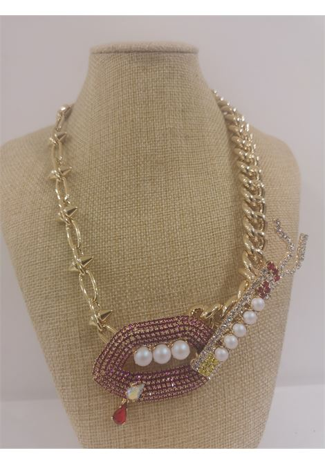 LisaC Gold tone mouth swarovski faux pearls necklace Lisa C. Bijoux | Necklaces | COLLANAELETRIC