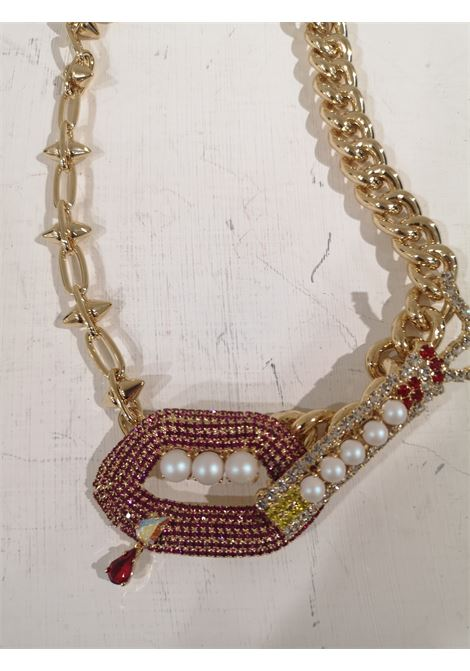 LisaC Gold tone mouth swarovski faux pearls necklace Lisa C. Bijoux | Collana | COLLANAELETRIC