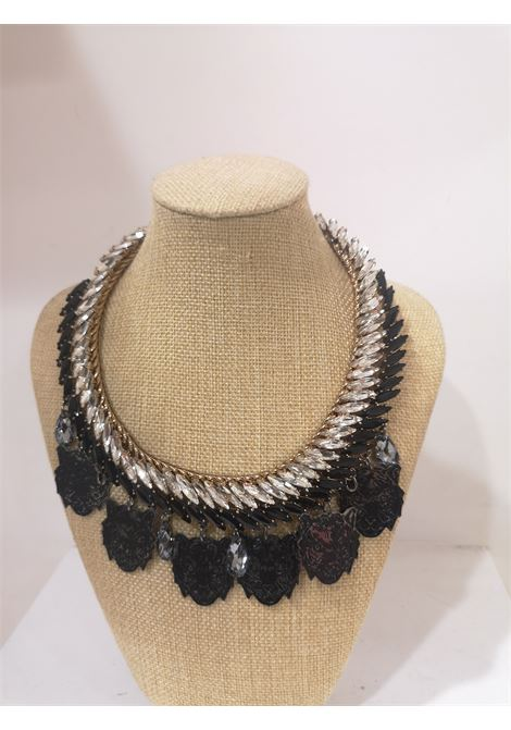 LisaC Black tigers swarovski stones necklace Lisa C. Bijoux | Collana | PLUME-