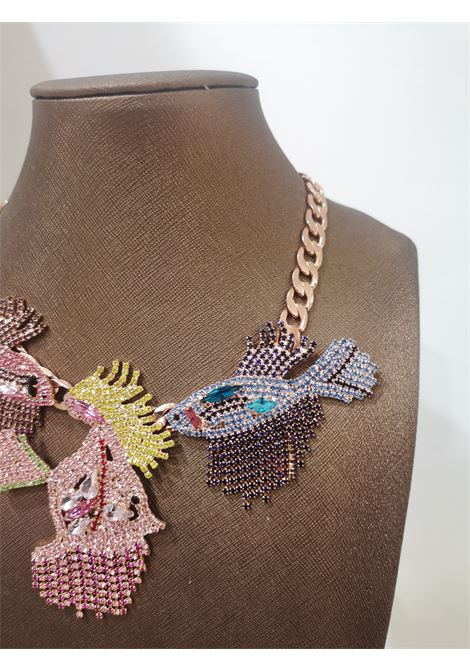LisaC Fish multicoloured swarovski stones necklace Lisa C. Bijoux | Collana | ZIVA-